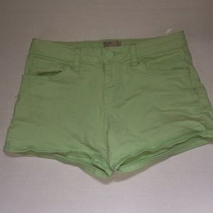 pastel green stretch jean shorts